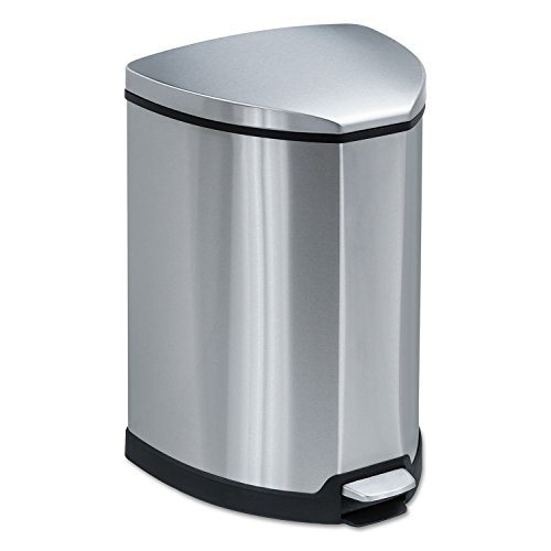 (Safco Step-On Waste Receptacle, Triangular, Stainless Steel, 4 Gal, Chrome/Black)