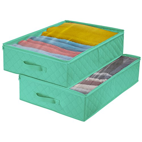 Sorbus Storage Bags Closet & Underbed Organizer Set, Clear Cover, Foldable with Carry Handles, Great for, Clothes, Linens, Bedding, Closets, Bedrooms, and More (Closet Organizer, Teal)