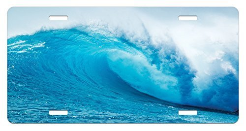 zaeshe3536658 Ocean License Plate, Wavy Ocean Adventurous Surfing Extreme Water Sports Summer Holiday Destination Print, High Gloss Aluminum Novelty Plate, 6 X 12 Inches, Aqua White
