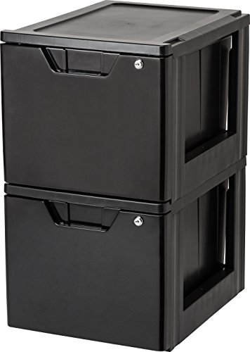 IRIS Stacking File Storage Drawer with Lock, 2 Pack, Lock and Key
