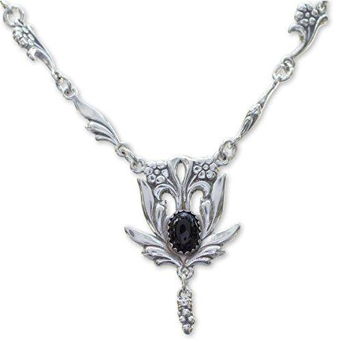 NOVICA Onyx .925 Sterling Silver Pendant Necklace, 17.25