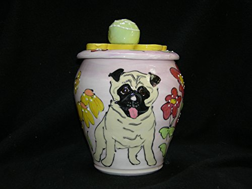 Pug Treat Jar or Cookie Jar. Personalized at no Charge. Signed by Artist, Debby Carman. by Faux Paw Productions, Inc., Laguna Beach, CA