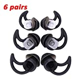 6 Pairs Replacement Silicone Ear Tips Earbuds Buds Stayhear for Bose QC30 QC20 SIE2i IE2 IE3 Soundsport Wireless Headphones, (Black)