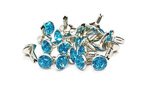 Trimming Shop 10 X 7mm Diamante Rivets For Leather Crafts Colored Acrylic Rhinestones With Brass Nickel Plated Stem Fake Diamond Crystal Gem Sky ()