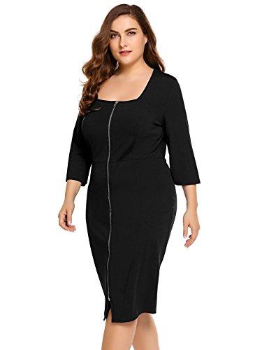 Women Three Quarter Sleeve Bodycon Dress Plus Size Black - 3