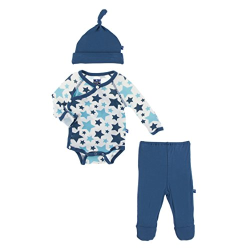 KicKee Pants Little Boys Kimono Newborn Gift Set with Elephant Box - Confetti Star, Newborn