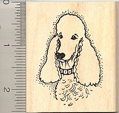 Poodle Portrait Rubber Stamp - Wood Mounted