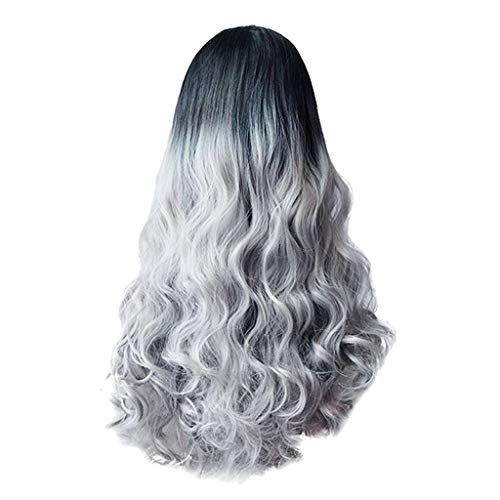 Xiarookp Sexy Women Long Hair Extensions Black Gradient Big Wave Long Curly Wigs Rose Net Hairpiece (A) -
