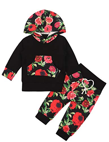 - 2PCS Baby Girls Clothes Long Sleeve Hoodie with Kangaroo Pocket +Floral Pants Outfit Sets (18-24months)