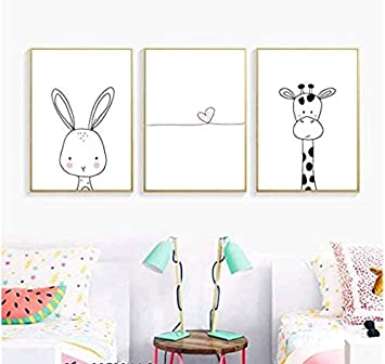 Lona Pintura HD Decoración de la habitación del bebé nórdico Animal de dibujos animados Cartel Corazón rosado Lienzo Arte Jirafa Pintura Conejo Impresión de arte Cuadros de pared 60x80cm