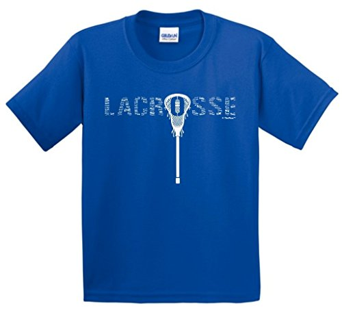 ft Lacrosse Word Collage Lacrosse Fan Gift Youth T-Shirt Large Royal ()