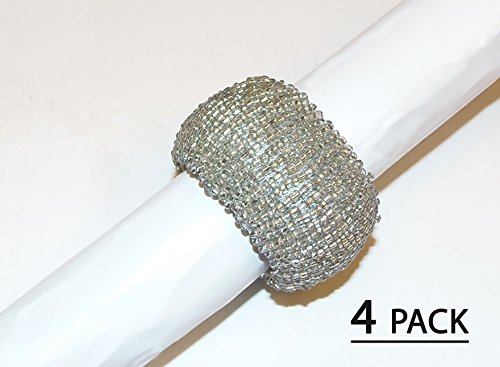 Cotton Craft – Solid Color Beaded Napkin Ring – Silver – Set of 4 – 2 Inch Round – Hand made by skilled artisans – A beautiful complement to your dinn…