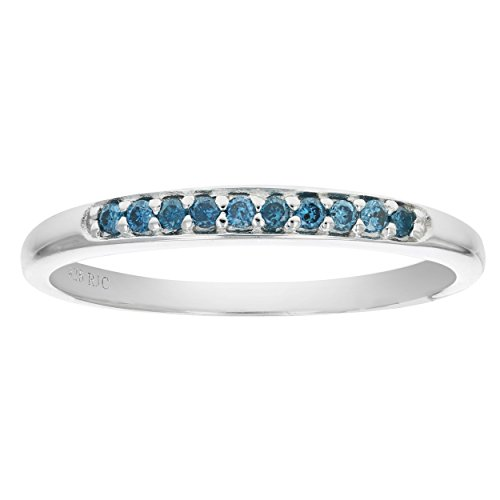 1/10 CT Sterling Silver Blue Diamond Ring In Size 8