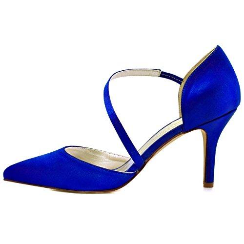 Sposa D`orsay alti HC1711 Punta Pointed Blu sera tacco nozze ElegantPark donne scarpe partito xvgAInAZ