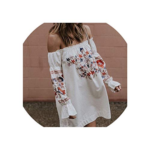 - Clustor Dress Mini Slash Neck Off Shoulder Printed RuffleA-line Blouses,White,XL