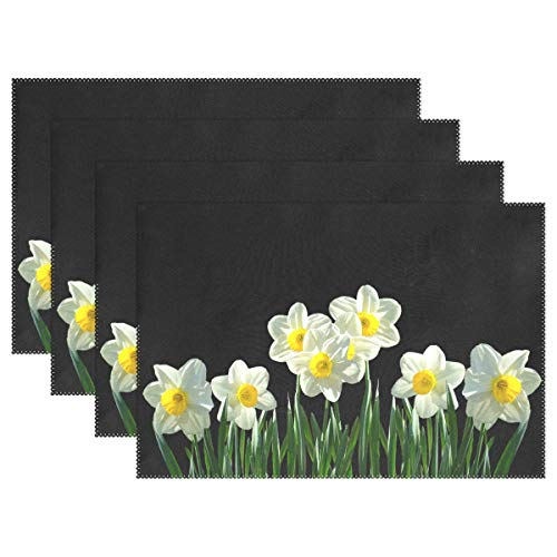 JTMOVING Daffodils Osterglocken Spring Easter Spring Flowers Placemats Set Of 4 Heat Insulation Stain Resistant For Dining Table Durable Non-slip Kitchen Table Place Mats ()