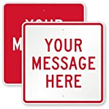 Customizable Square Red Sign, High Intensity Grade Reflective Sign, 80 mil Aluminum, 30'' x 30''