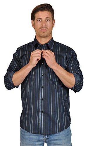 Giorgio Ebbeni Men's Button Down Striped Dress Shirts (Large, Navy) - Giorgio Dress Shirt