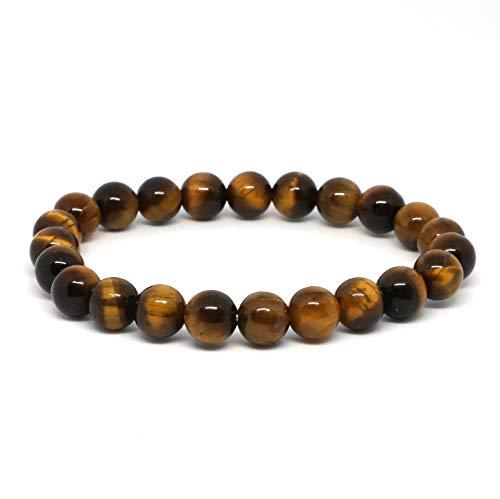 Turtledove Natural Semi Precious Gemstone Beaded Bracelet for Men & Women Stretchable Unisex Vintage Lucky Charm Stretch Bracelet 7.2'' (Brown Mix)