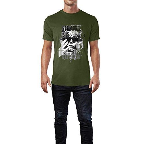 SINUS ART® Frau mit Sonnenbrille und Typografie Herren T-Shirts in Armee Grün Fun Shirt mit tollen Aufdruck