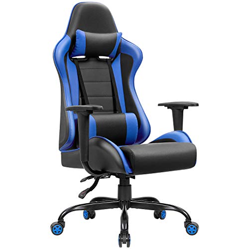 JUMMICO Gaming Chair High-Back PU Leather Racing Chair Ergonomic Computer Desk Executive Home Office Chair with Headrest and Lumbar Support Blue