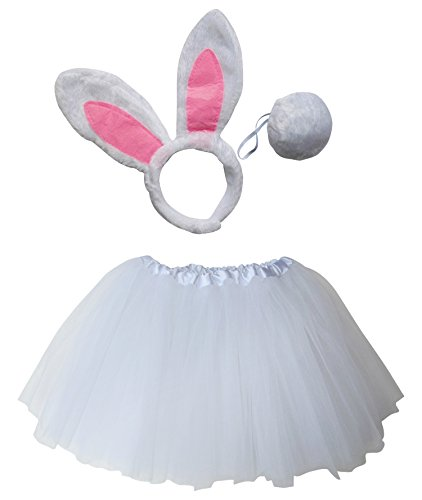 So Sydney Kids Teen Adult Plus Tutu Skirt, Ears, Tail Headband Costume Halloween Outfit (L (Adult Size), Rabbit Pink & White) -