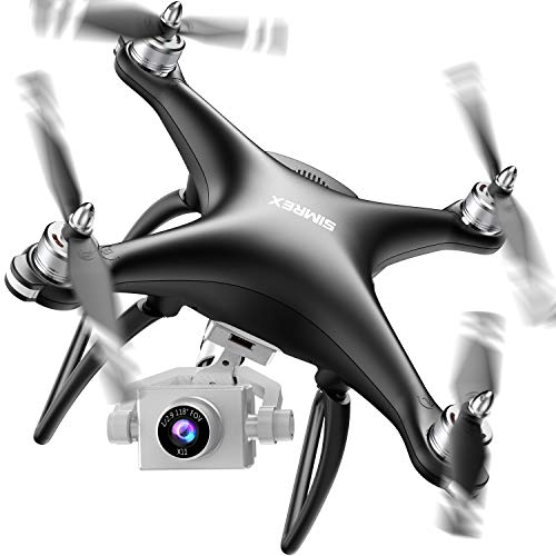 SIMREX X11 GPS Drone with 1080P HD Camera 2-Axis Self-stabilizing Gimbal 5G WiFi FPV Video RC Quadcopter, Auto Return Home with Follow Me, Altitude Hold Headless Brushless Motor Remote Control, Black