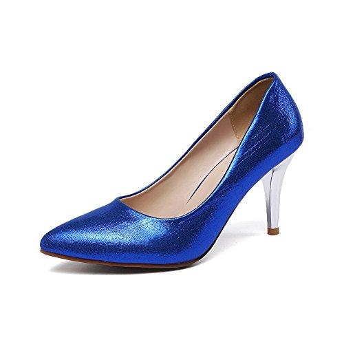 VogueZone009 Damen Rein Pailletten Mittler Absatz Ziehen auf Pumps Schuhe Blau