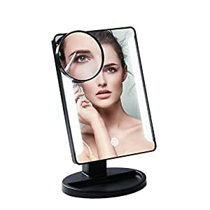leshp 36 led desk makeup mirror 10x magnifying lighted makeup mirror portable mirror. Black Bedroom Furniture Sets. Home Design Ideas