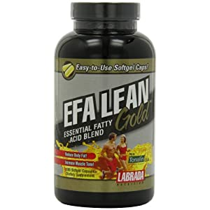 Labrada Nutrition EFA Lean Gold Essential Fatty Acid Softgel Capsules, 180 Count Bottle