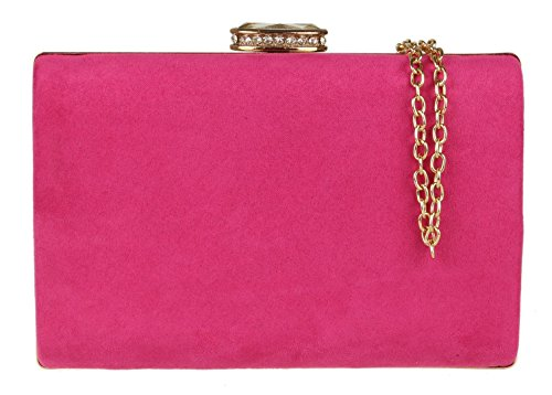 Fuchsia Clutch Girly Elegant Girly HandBags Suede HandBags Bag w0g80Zq