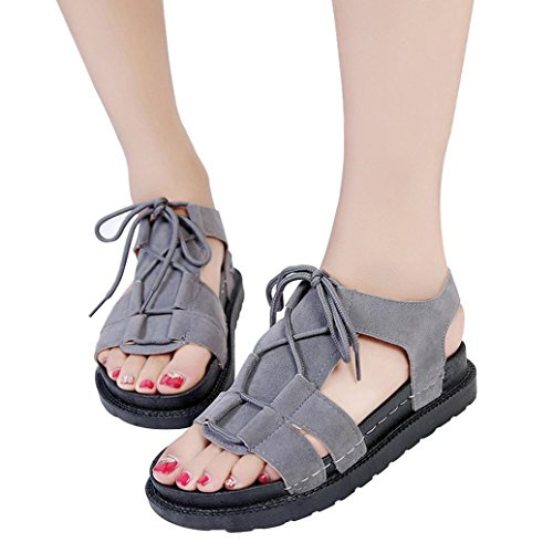 Retro Casual Cross Summer Bottom Thick Sandals Ankle Open Toe Women Shoes Platform Gray HLHN Flat Heel Roman Strap FBqSZHRxRw