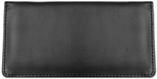 Black Textured Leather Checkbook Cover