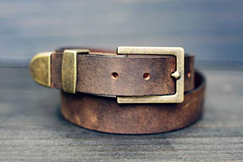 Custom Mens Distressed Buffalo Leather Belt, Brown Leather Classic Belt, Belt with SNAPS for Jeans, Suits, Custom Cut Oiled - Oiled Buffalo