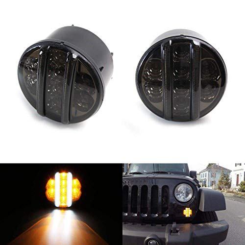 iJDMTOY (2) Smoked Lens LED DRL Turn Signal Assembly For 07-17 Jeep Wrangler (White LED Vertical Bars as Daytime Running Lights & Amber LED Dots as Turn Signal Lights)