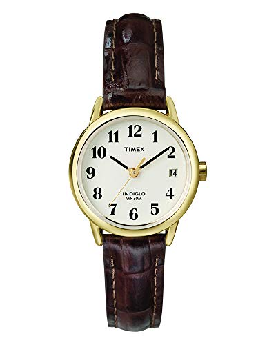 - Timex Women's T20071  Indiglo Leather Strap Watch, Brown Croco/Gold-Tone