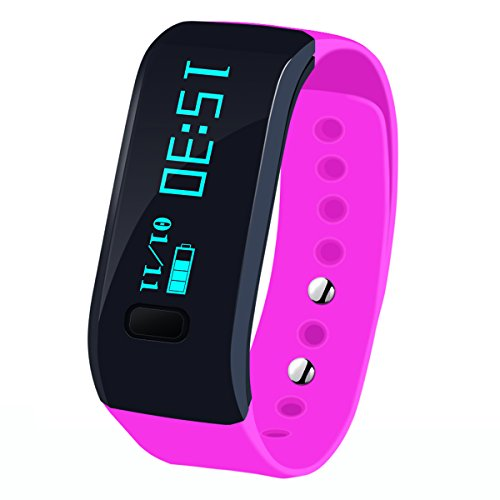 Megadream Waterproof IP67 Intelligent Activity Fitness Tracker with Pedometer Tracking & Sleep Quality & Health Sport Monitoring Smart Wristband Fitness Tracker Bracelet for IOS & Android - Pink