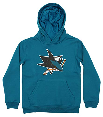 Outerstuff NHL Youth Boy's (8-20) Primary Logo Team Color Fleece Hoodie, San Jose Sharks Medium(10-12)
