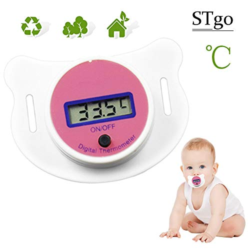 Baby Kids LED Pacifier Thermometer Mouth Temperature Monitor Tool with Safety Health Pacifier for Infant,Toddlers,Newbron Pink ℃