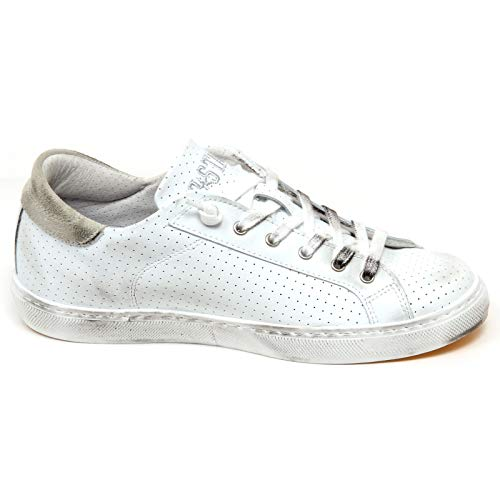 grigio Scarpe Sneaker Shoe Woman Donna F3712 White grey 2star Bianco Vintage Effect PxSX1gwqX6