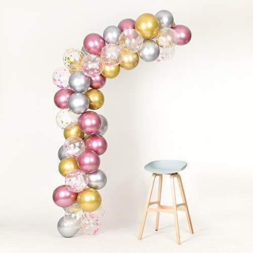 Pink Gold Silver Metallic Balloons Garland Arch Kit 12inch 50pcs for Girl Baby Shower Bachelorette Birthday Wedding -