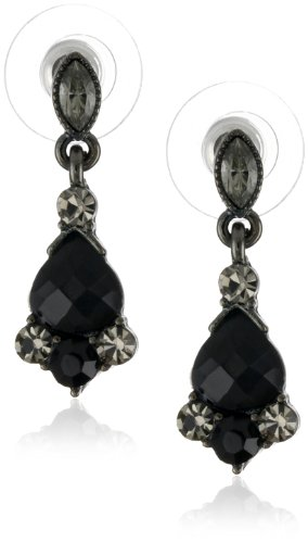 1928 Jewelry Vintage-Inspired Black Crystal Drop Earrings (Marquis Shaped Earrings)