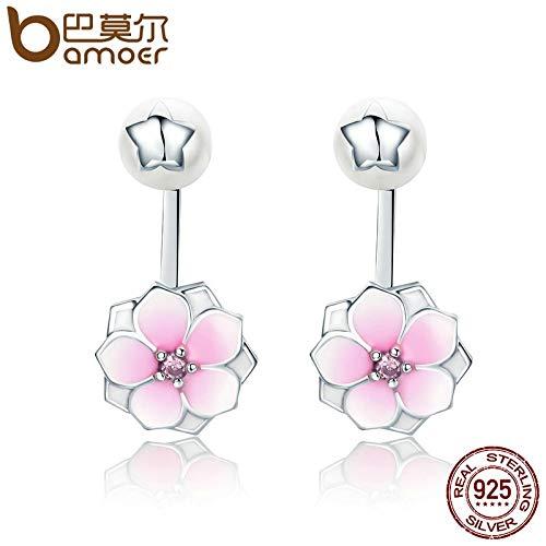 - Genuine 925 Sterling Silver Magnolia Bloom, Pale Cerise Enamel Drop Earrings for Women Brincos Fine Jewelry Bijoux SCE142