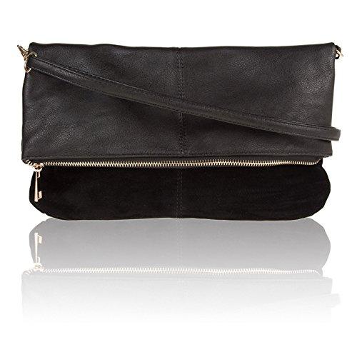 Faux Cross Uk Black Bags Women Shoulder Flat Zarla Designer Clutch Body Evening Ladies Suede dqxwdFa7X