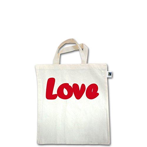 Romantisch - Love - Unisize - Natural - XT500 - Fairtrade Henkeltasche / Jutebeutel mit kurzen Henkeln aus Bio-Baumwolle