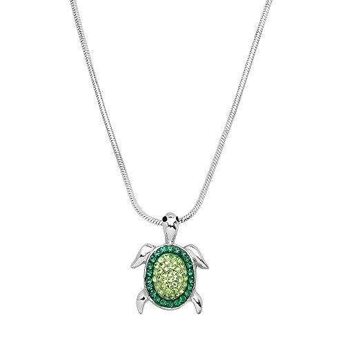 - Falari Turtle Pendant Necklace Rhinestone Crystal Rhodium High Polished J0186