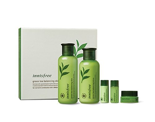 Innisfree Green Tea Balancing Skin Care Set (For Normal To Combination Skin) 1set, 5pcs (Best Affordable Skin Care Products 2019)