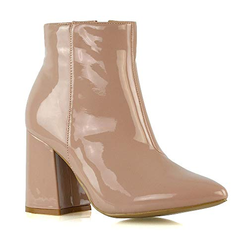 Womens Pointed Ankle Boots Ladies Nude Patent Block Mid High Heel Zip Up Booties Shoes Size 5 B(M) US