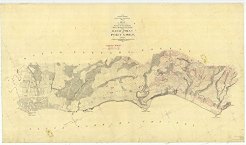 24 x 36 Giclee Print Nautical Map Image Santa Barbara Channel from Sand Point to Point Gorda 1869 NOAA 26a