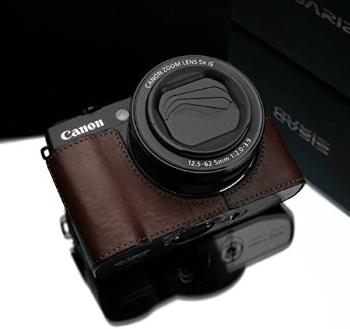 GARIZ Canon Power Shot G1X Mark2 for this leather camera case XS-CHG1X2BR Brown
